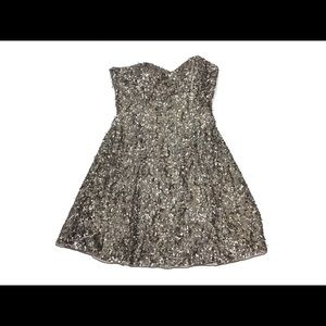 Scala Grey Sequined Strapless Dress Size 10